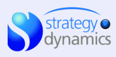Logo for Strategy Dynamics: blue sphere with cut out S
